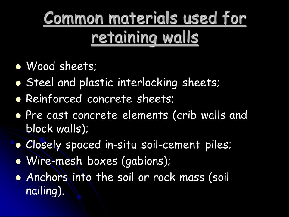 Common materials used for retaining walls