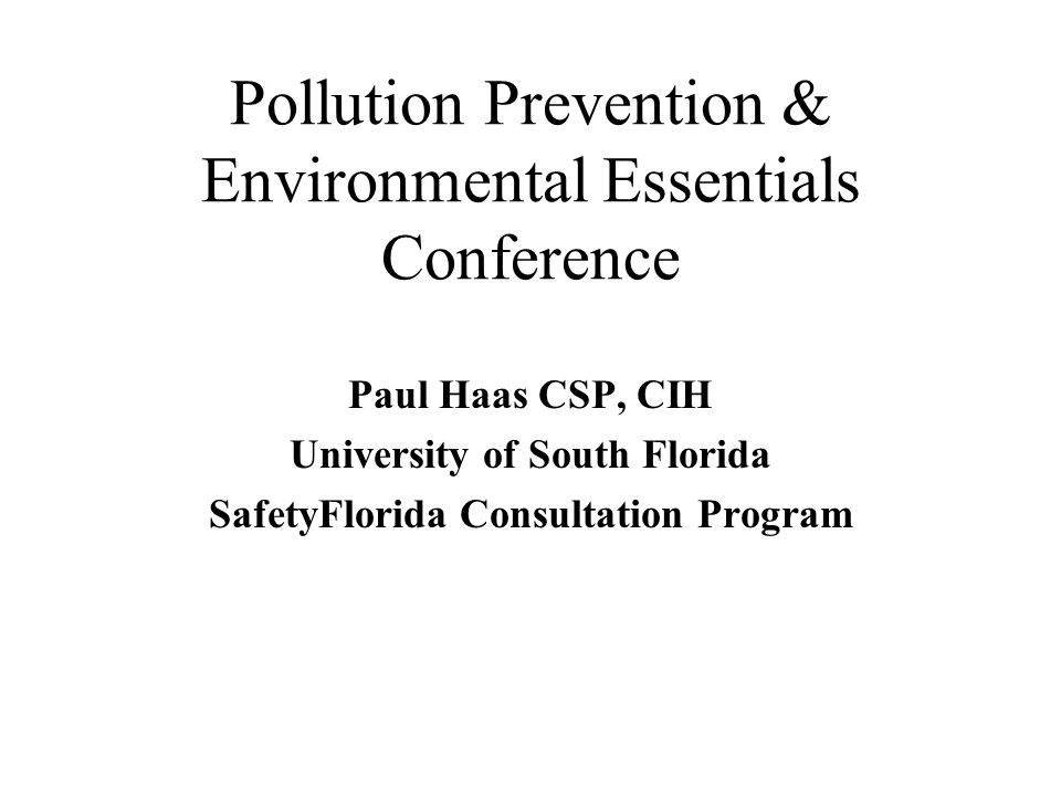Pollution Prevention & Environmental Essentials Conference