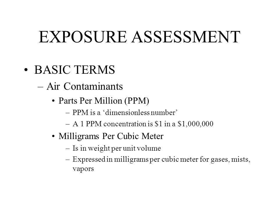 EXPOSURE ASSESSMENT BASIC TERMS Air Contaminants