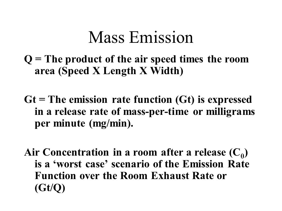 Mass Emission Q = The product of the air speed times the room area (Speed X Length X Width)