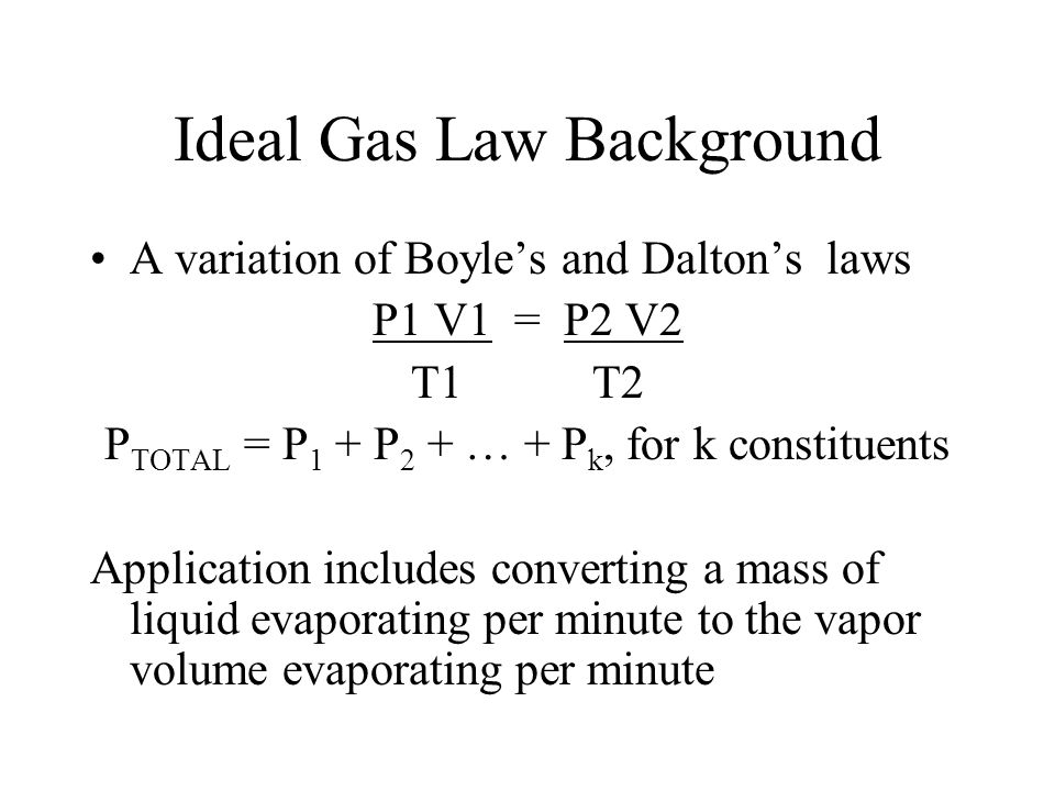 Ideal Gas Law Background