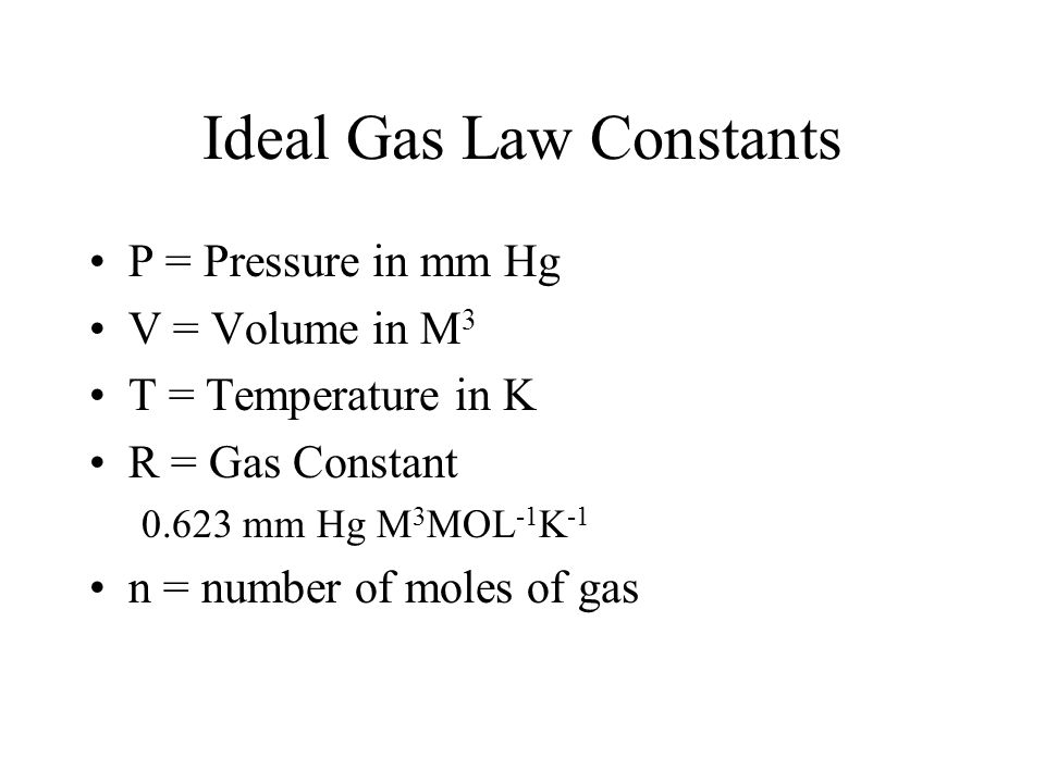 Ideal Gas Law Constants