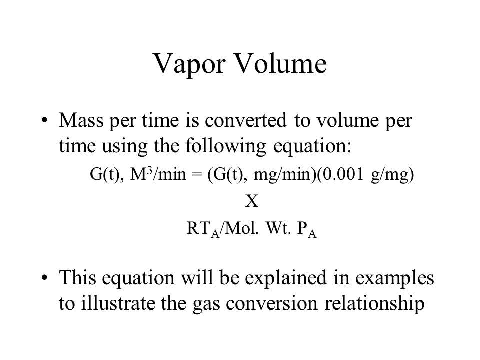 G(t), M3/min = (G(t), mg/min)(0.001 g/mg)
