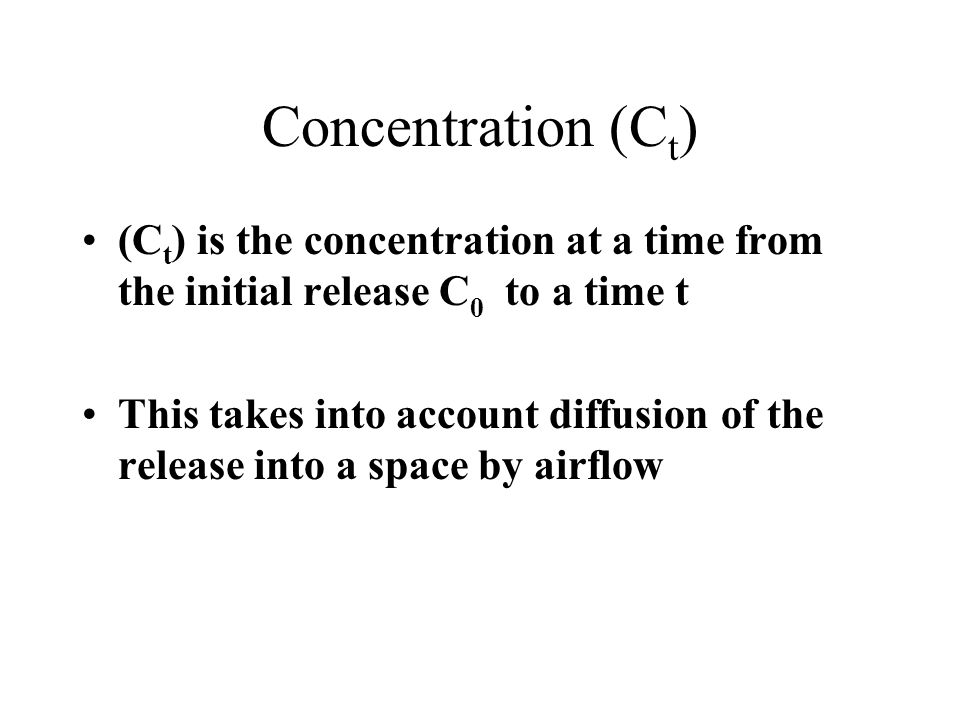 Concentration (Ct) (Ct) is the concentration at a time from the initial release C0 to a time t.