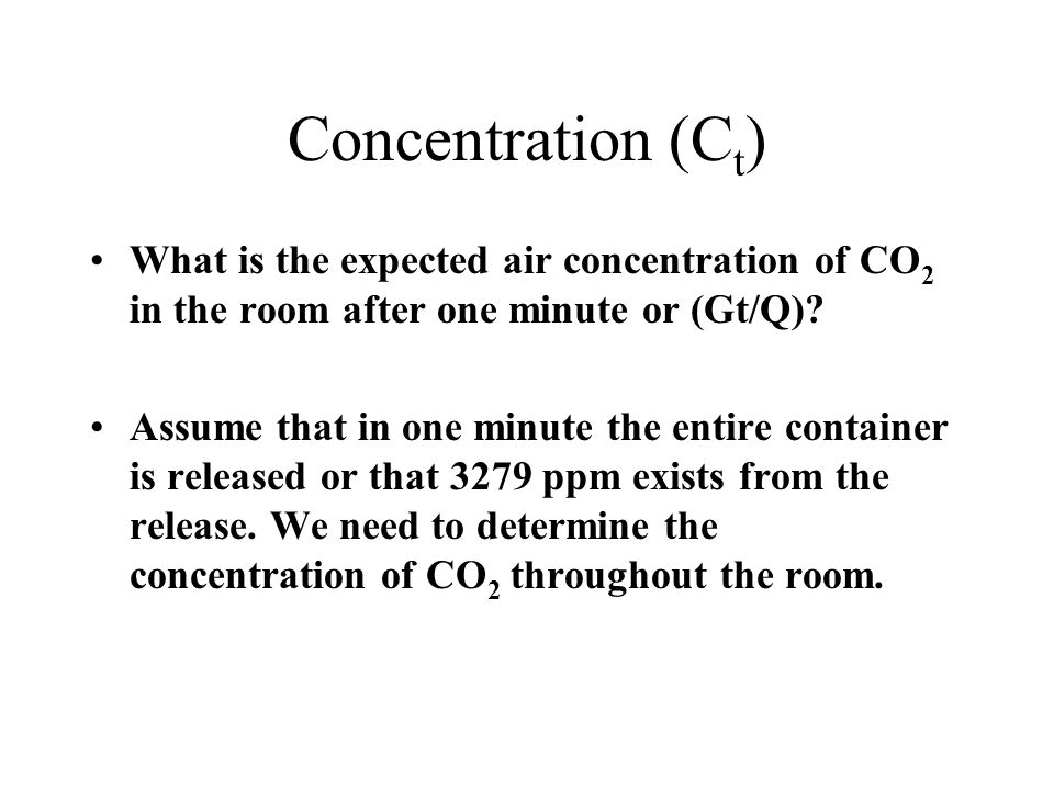 Concentration (Ct) What is the expected air concentration of CO2 in the room after one minute or (Gt/Q)