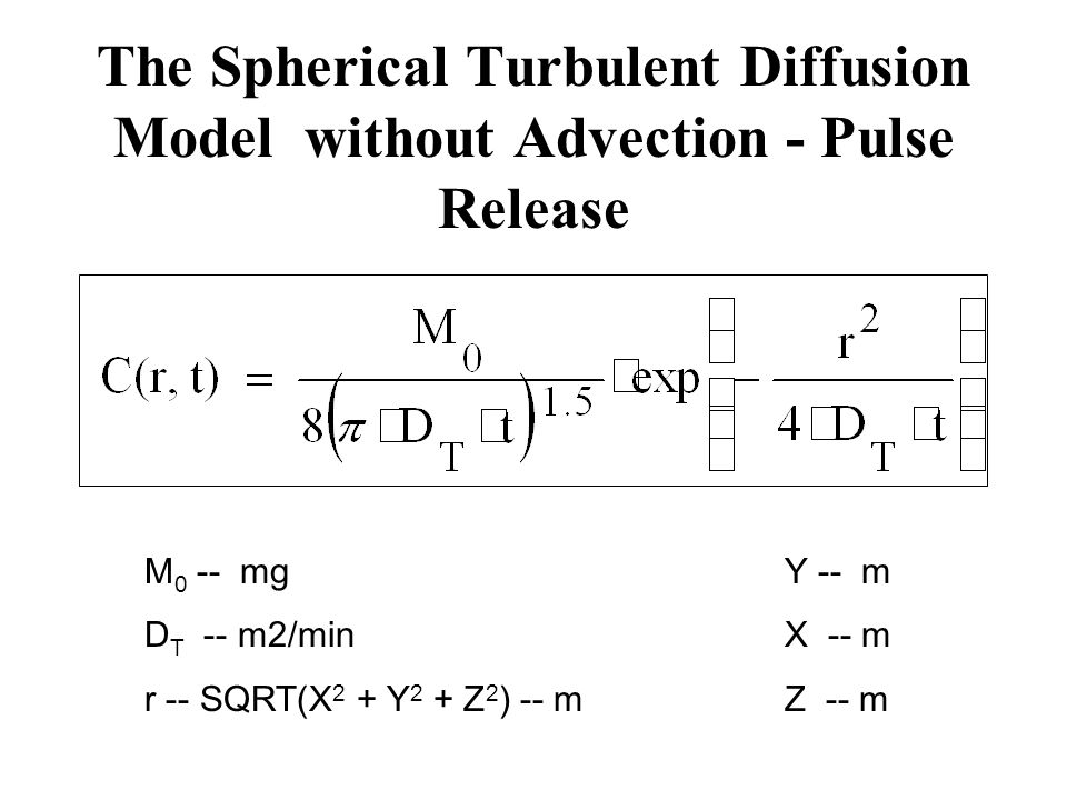 The Spherical Turbulent Diffusion Model without Advection - Pulse Release