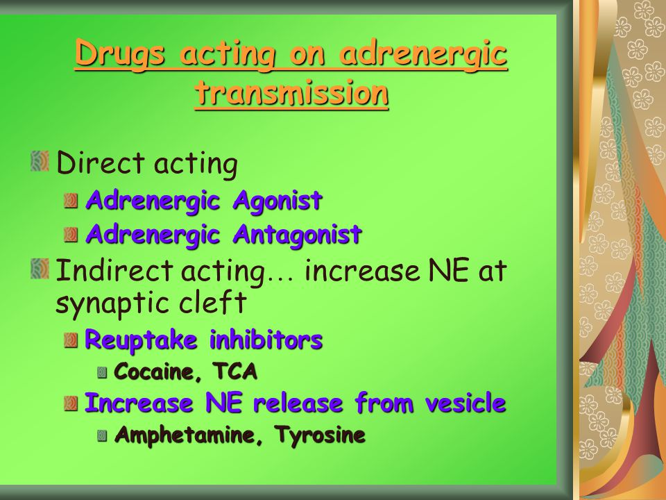 Drugs acting on adrenergic transmission