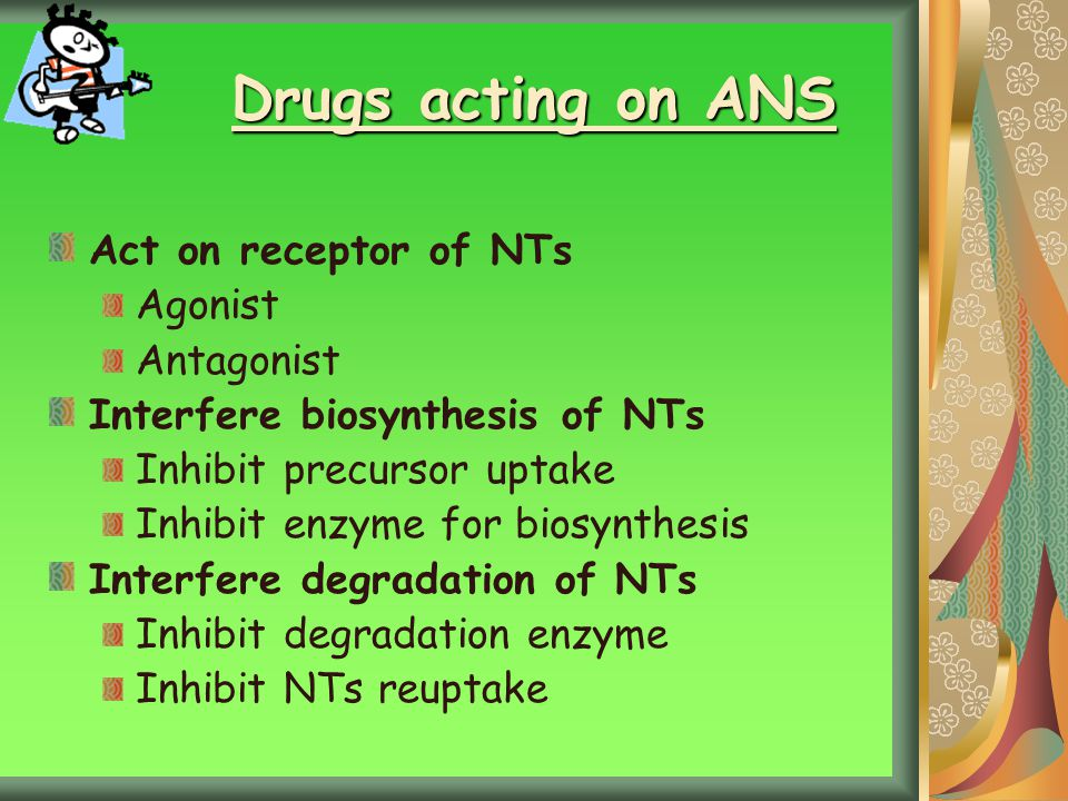 Drugs acting on ANS Act on receptor of NTs Agonist Antagonist