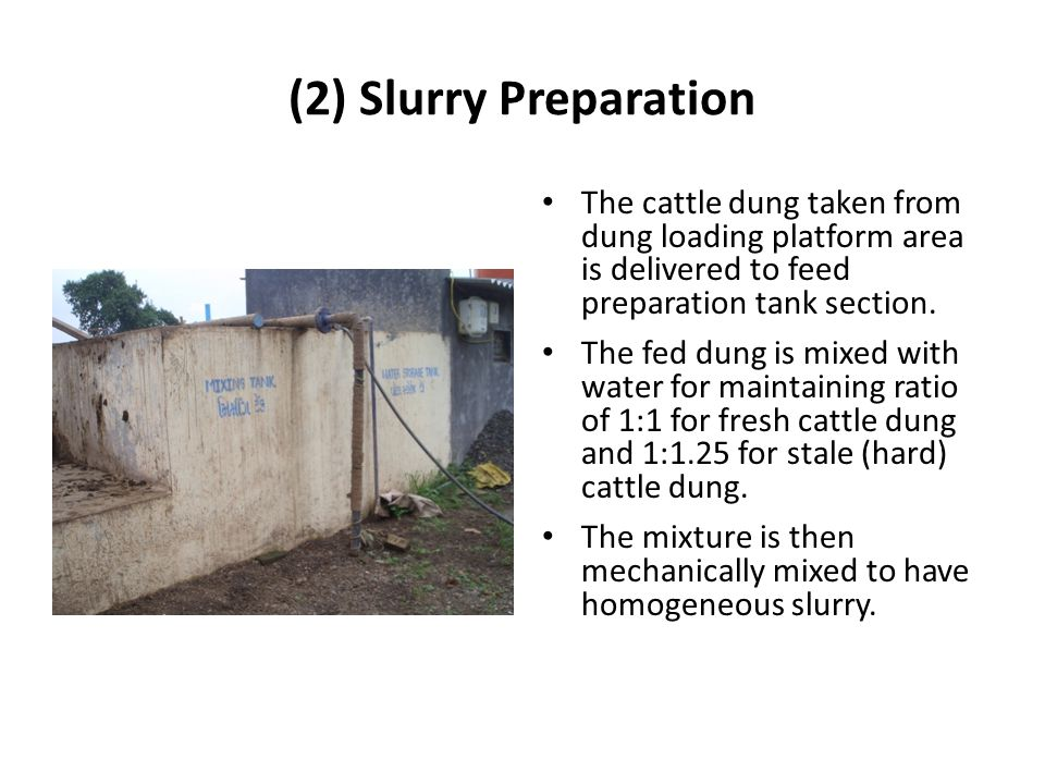 (2) Slurry Preparation The cattle dung taken from dung loading platform area is delivered to feed preparation tank section.
