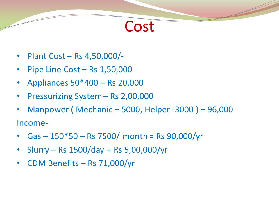Cost Plant Cost – Rs 4,50,000/- Pipe Line Cost – Rs 1,50,000