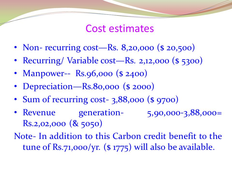 Cost estimates Non- recurring cost—Rs. 8,20,000 ($ 20,500)
