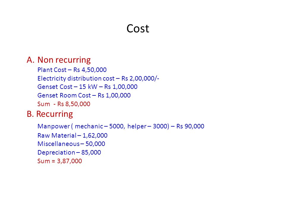 Cost Non recurring B. Recurring