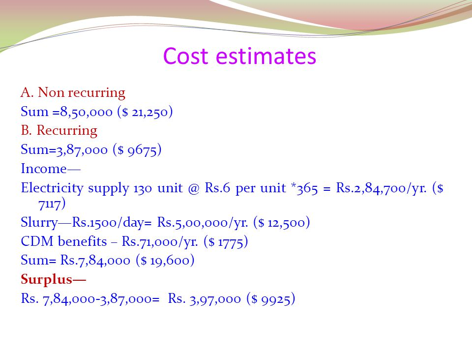 Cost estimates A. Non recurring Sum =8,50,000 ($ 21,250) B. Recurring