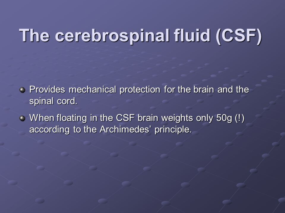 The cerebrospinal fluid (CSF)