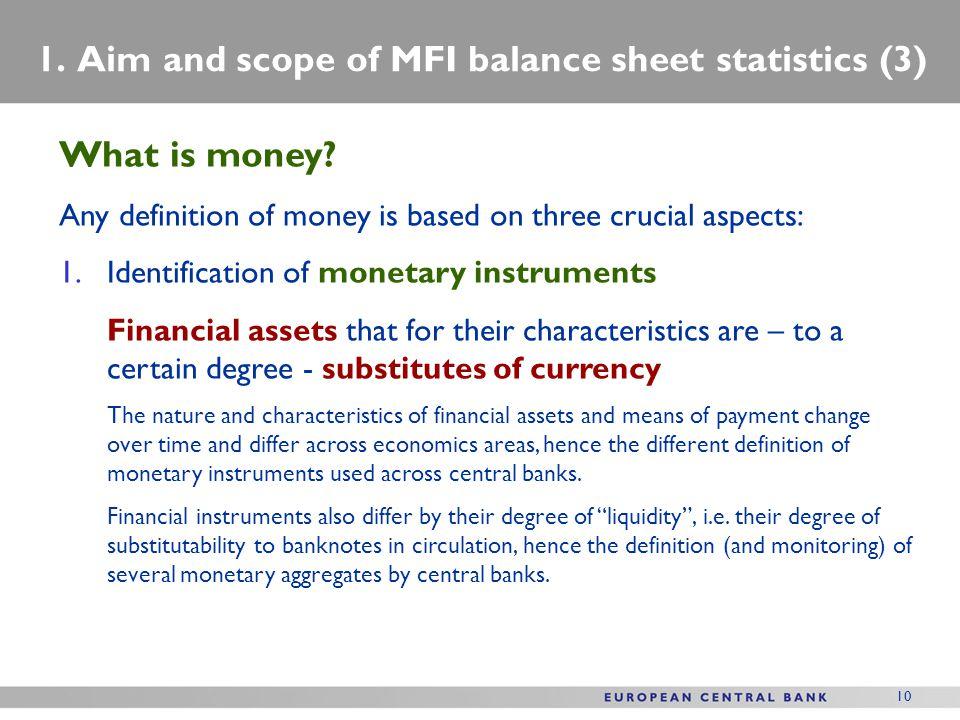1. Aim and scope of MFI balance sheet statistics (3)