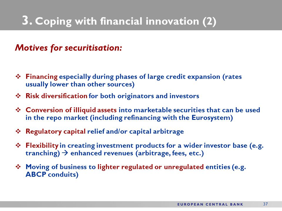 3. Coping with financial innovation (2)