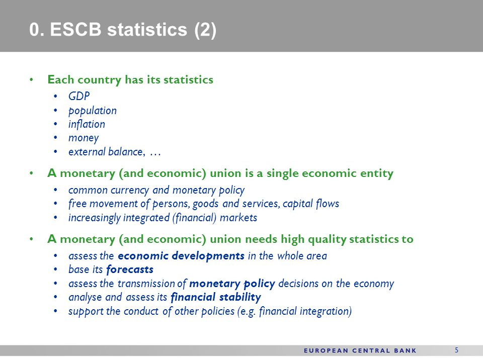 0. ESCB statistics (2) Each country has its statistics GDP population