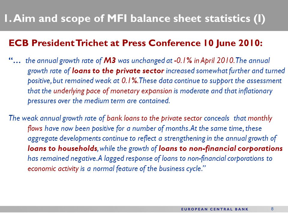 1. Aim and scope of MFI balance sheet statistics (I)