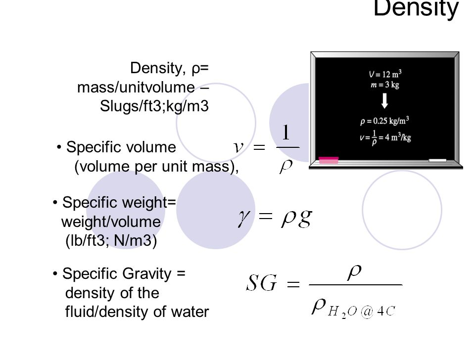 Density, ρ= mass/unitvolume –Slugs/ft3;kg/m3