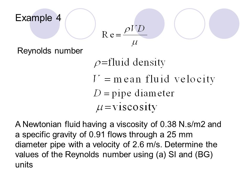 Example 4 Reynolds number
