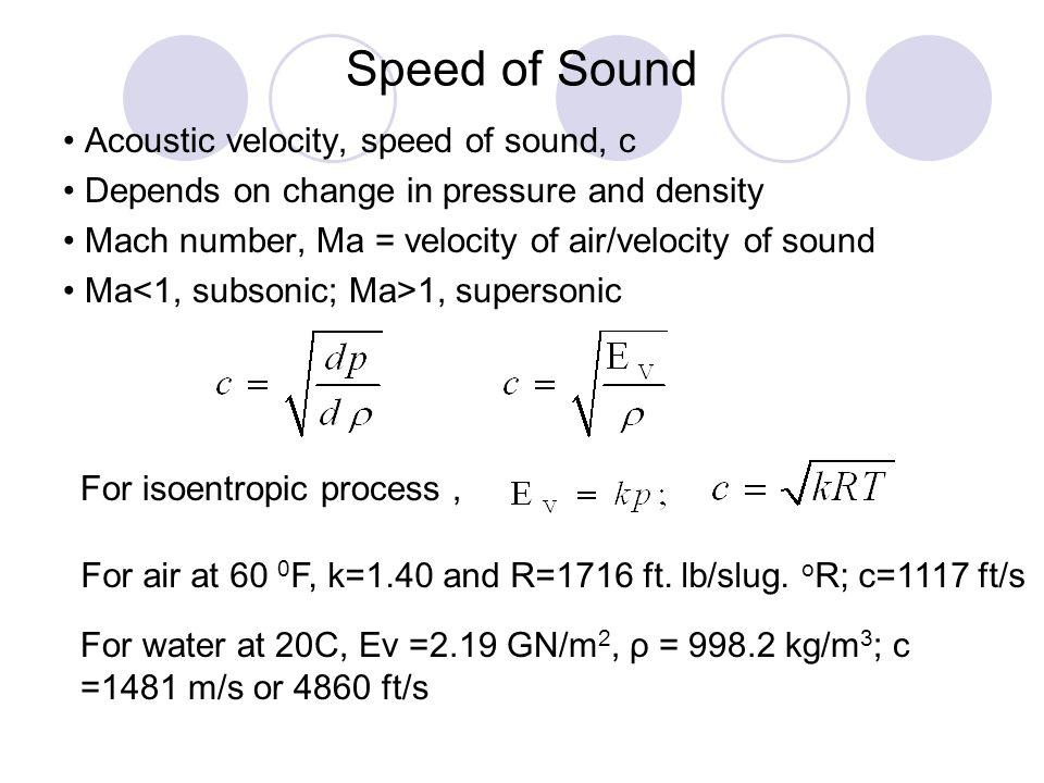 Speed of Sound • Acoustic velocity, speed of sound, c