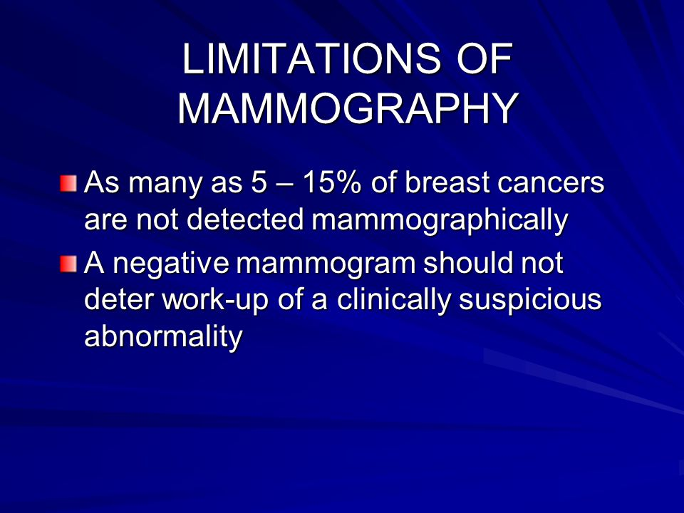 LIMITATIONS OF MAMMOGRAPHY