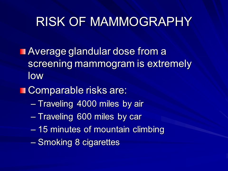 RISK OF MAMMOGRAPHY Average glandular dose from a screening mammogram is extremely low. Comparable risks are: