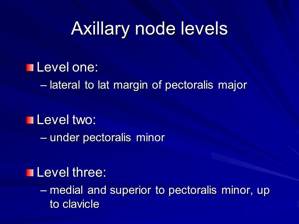 Axillary node levels Level one: Level two: Level three: