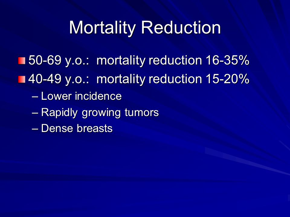 Mortality Reduction 50-69 y.o.: mortality reduction 16-35%