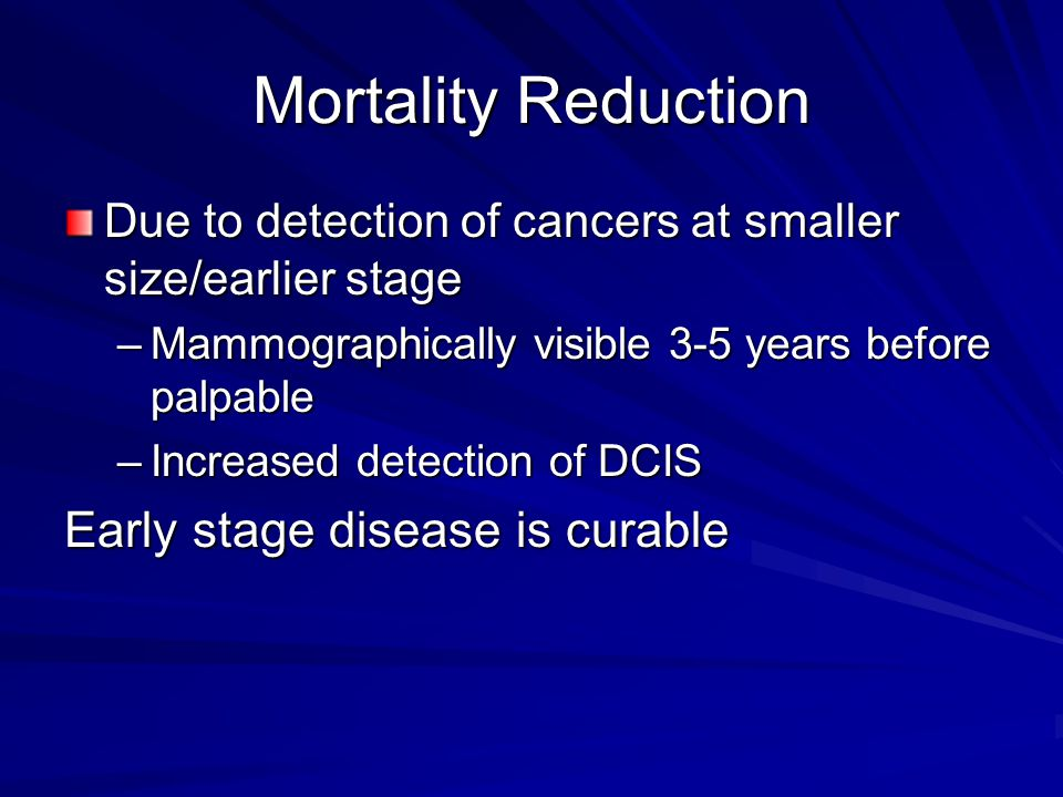 Mortality Reduction Early stage disease is curable