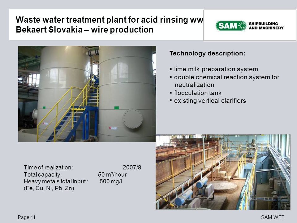 Waste water treatment plant for acid rinsing ww Bekaert Slovakia – wire production