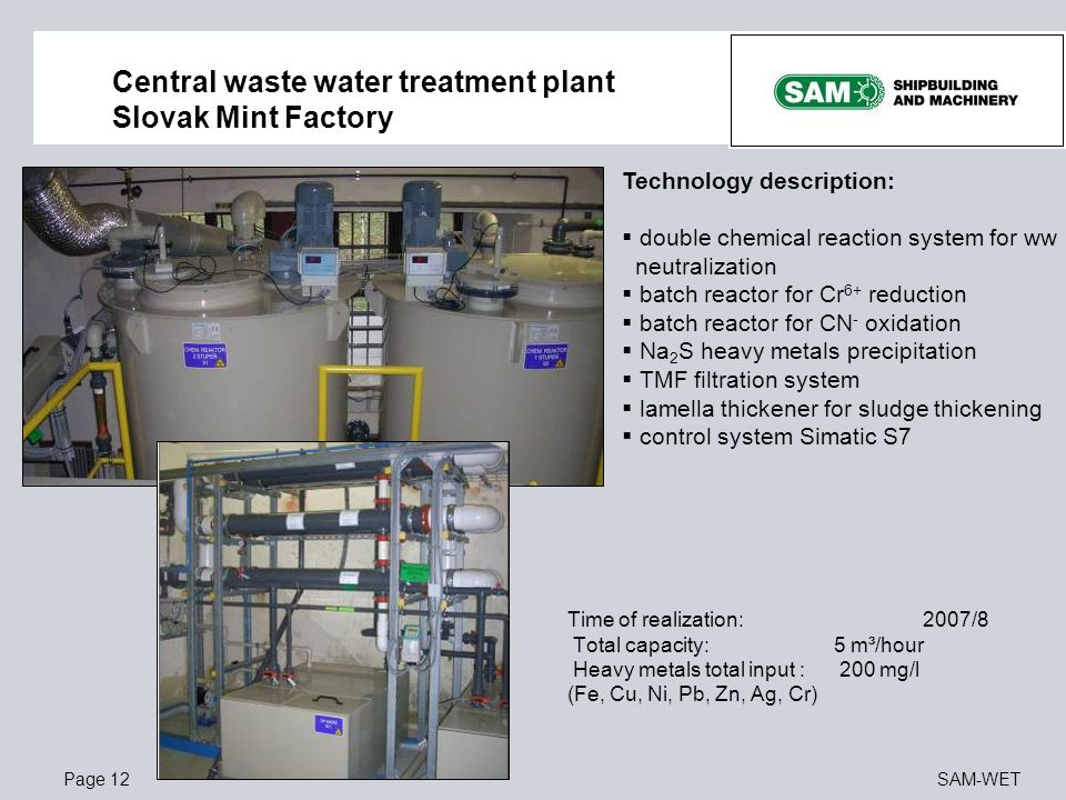 Central waste water treatment plant Slovak Mint Factory