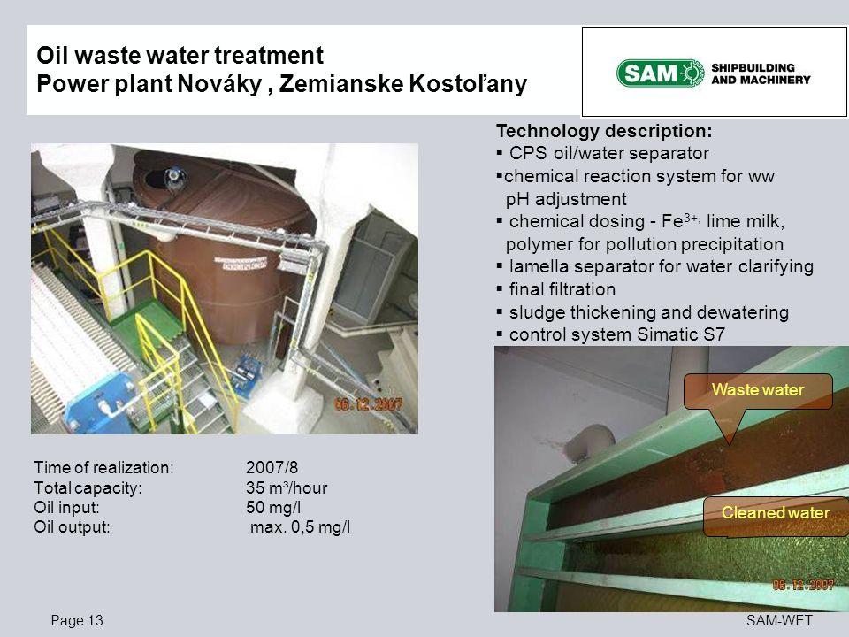 Oil waste water treatment Power plant Nováky , Zemianske Kostoľany