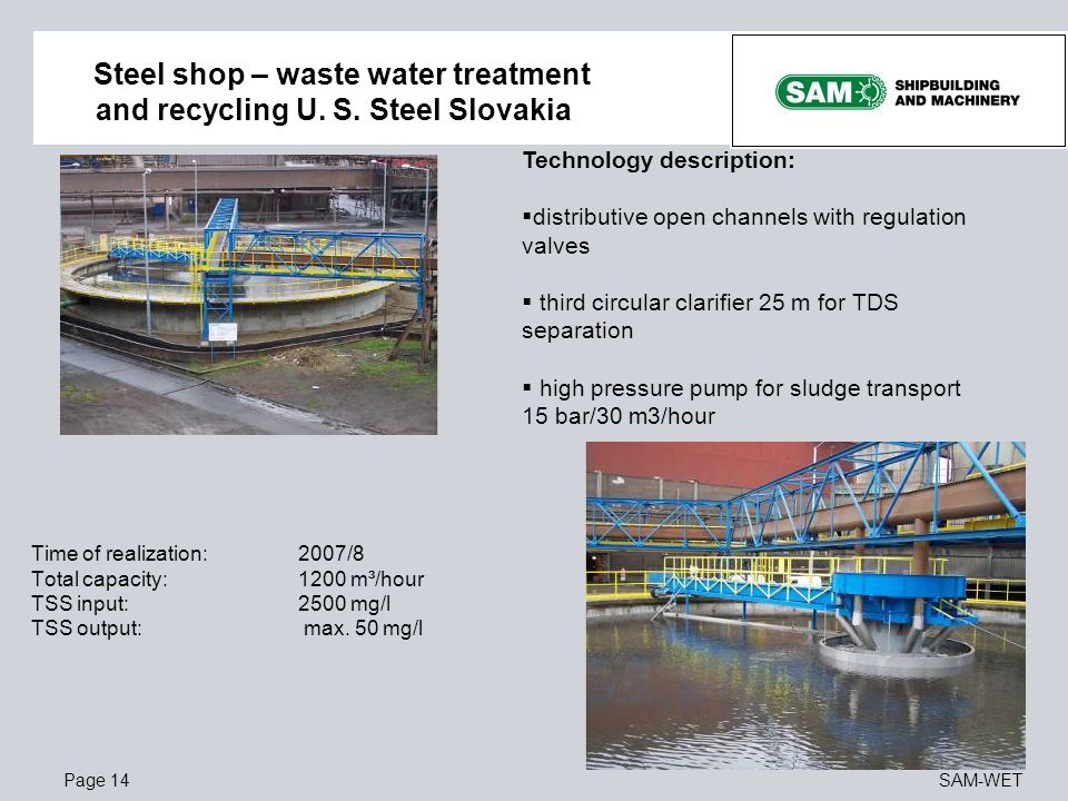 Steel shop – waste water treatment and recycling U. S. Steel Slovakia