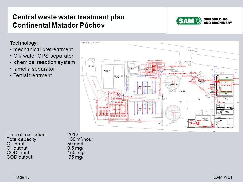 Central waste water treatment plan Continental Matador Púchov