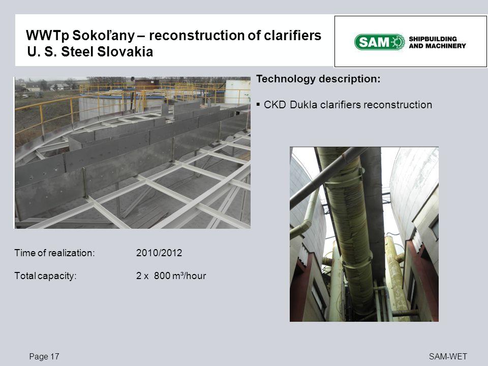 WWTp Sokoľany – reconstruction of clarifiers U. S. Steel Slovakia