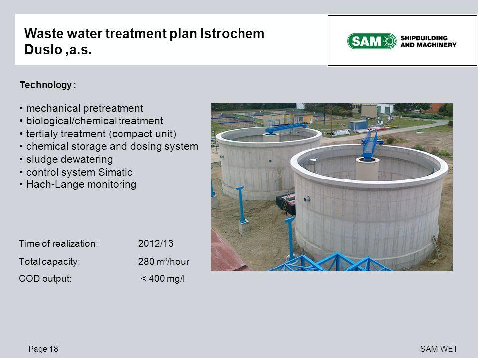 Waste water treatment plan Istrochem Duslo ,a.s.