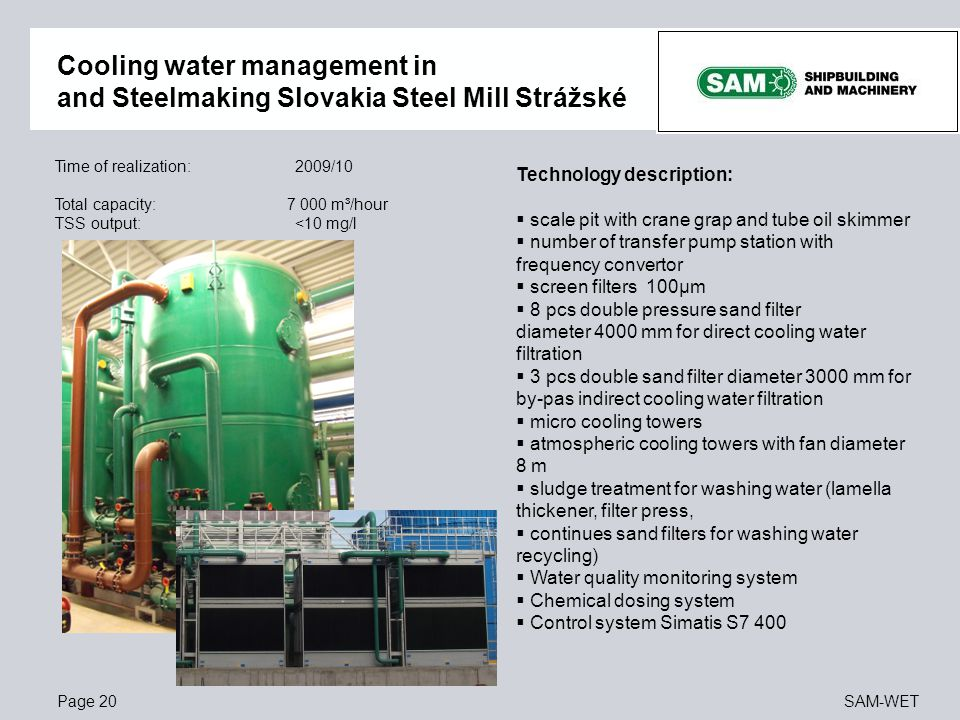 Cooling water management in and Steelmaking Slovakia Steel Mill Strážské