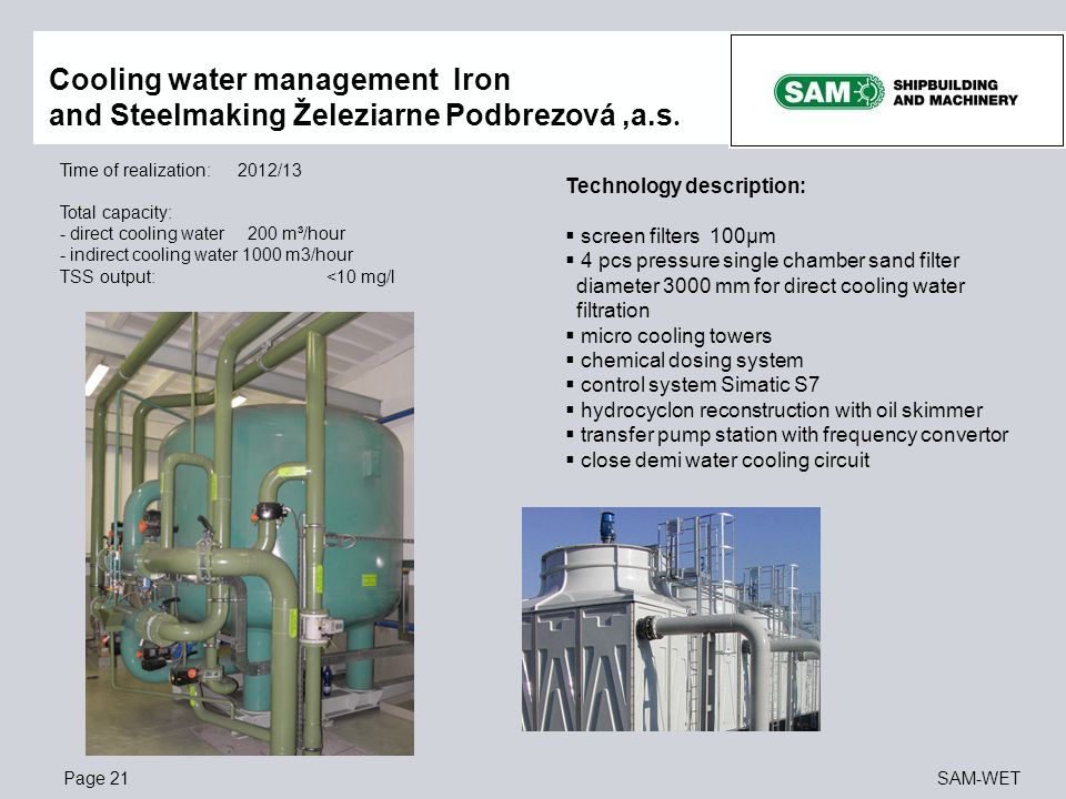 Cooling water management Iron and Steelmaking Železiarne Podbrezová ,a