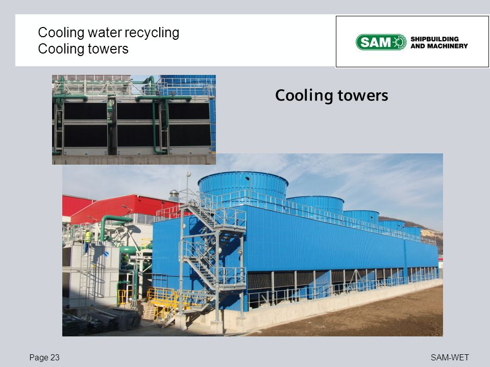Cooling water recycling Cooling towers