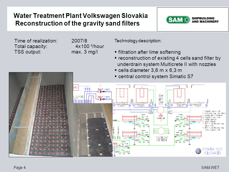 Water Treatment Plant Volkswagen Slovakia Reconstruction of the gravity sand filters