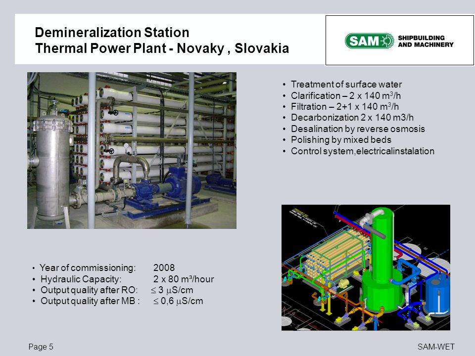 Demineralization Station Thermal Power Plant - Novaky , Slovakia