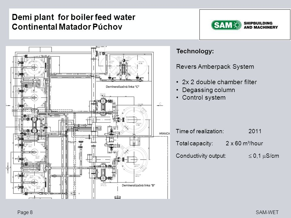Demi plant for boiler feed water Continental Matador Púchov