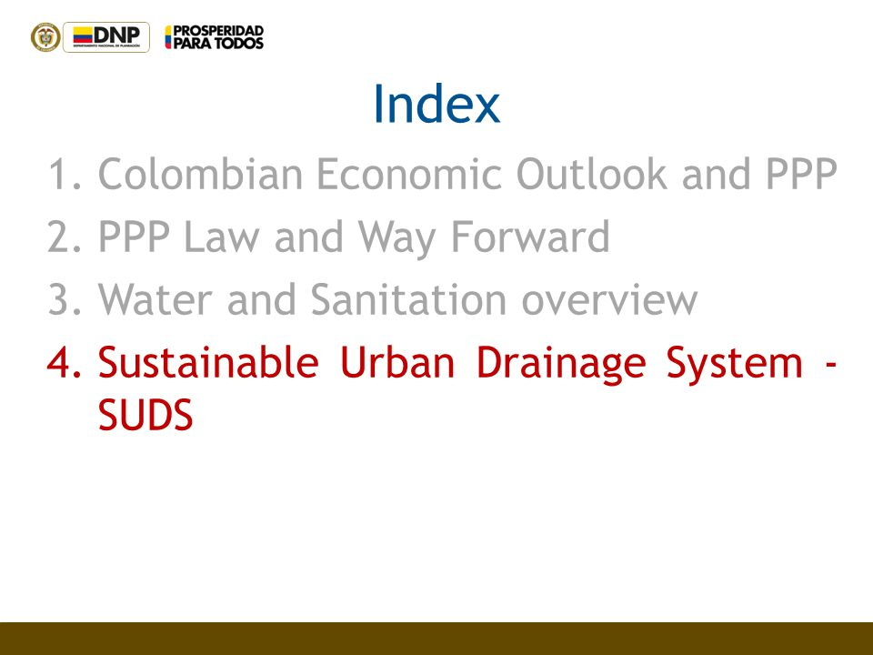 Index Colombian Economic Outlook and PPP PPP Law and Way Forward