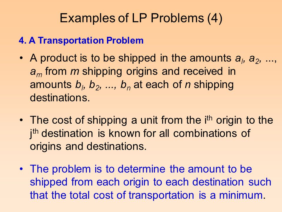 Examples of LP Problems (4)
