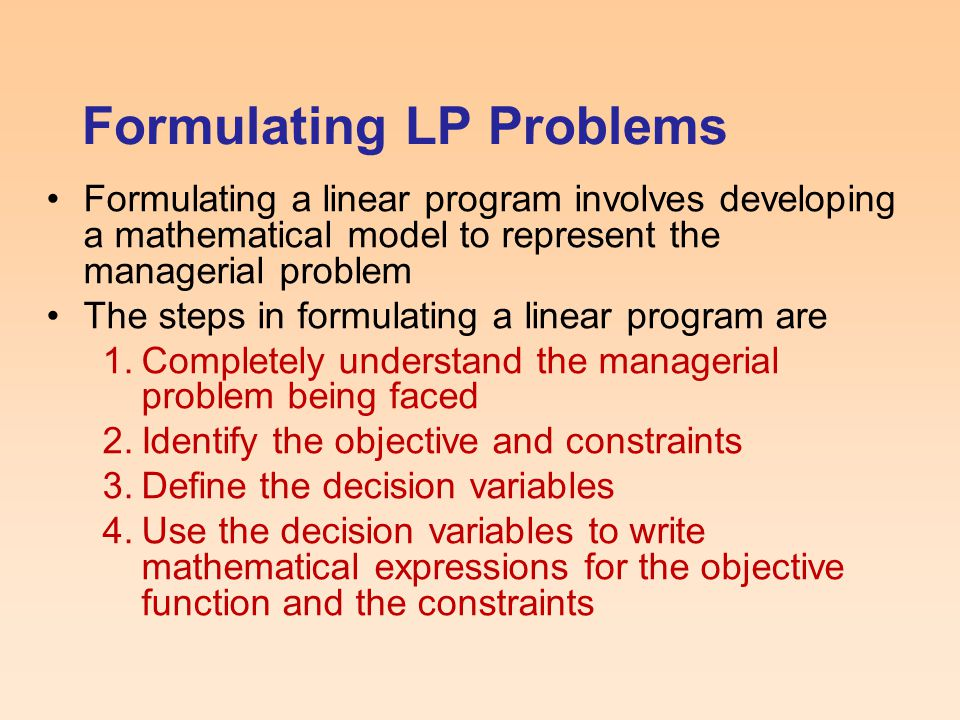Formulating LP Problems