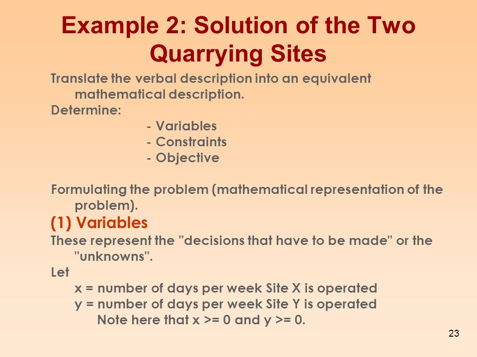 Example 2: Solution of the Two Quarrying Sites