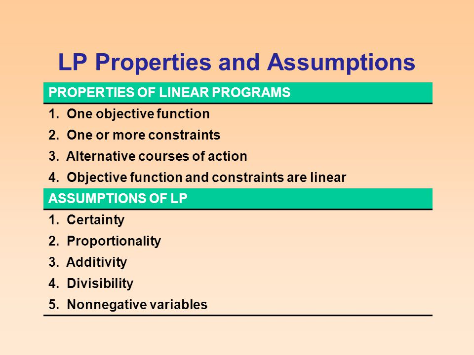 LP Properties and Assumptions