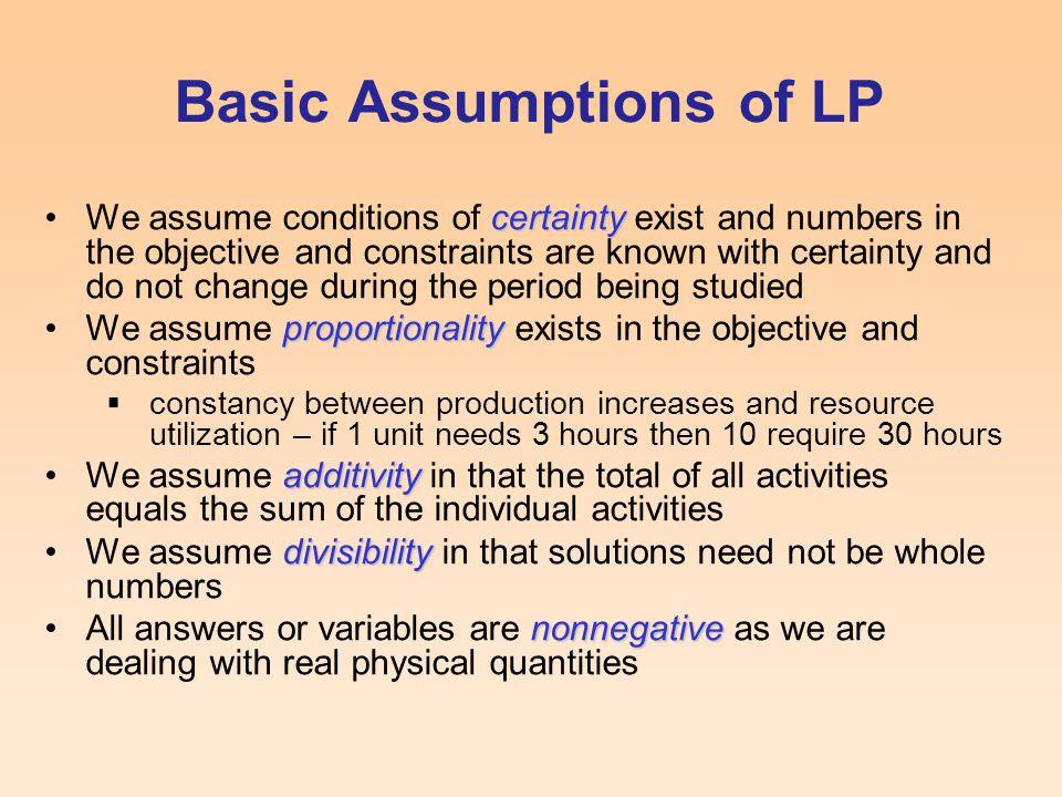 Basic Assumptions of LP