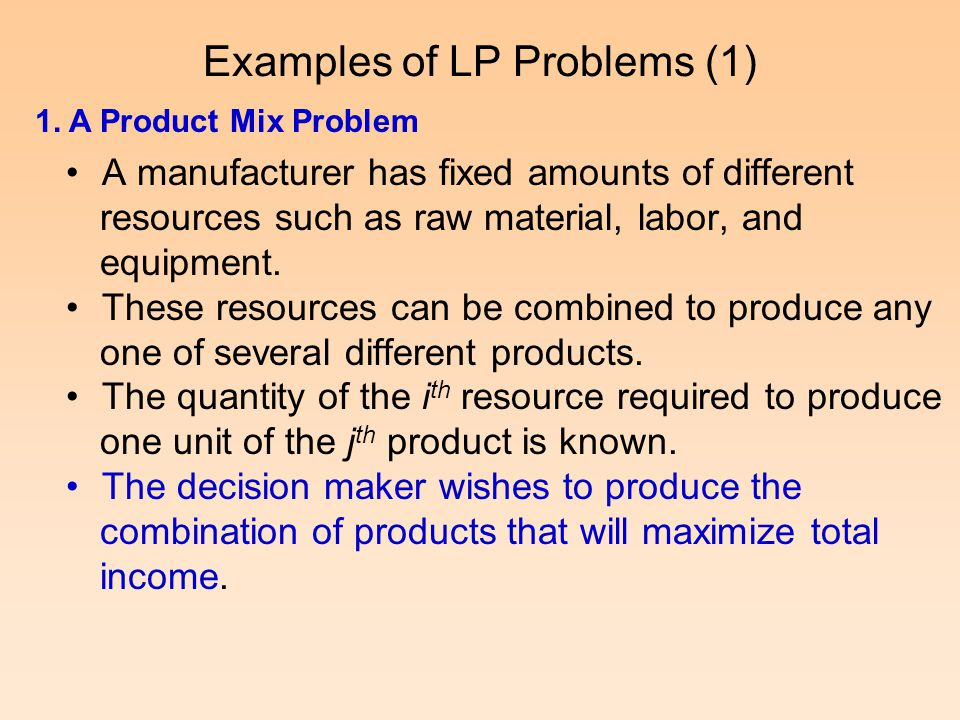 Examples of LP Problems (1)